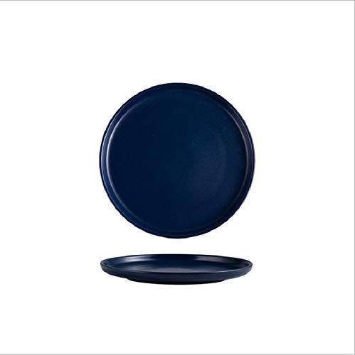 Plato de cerámica de 20,3 cm, color mate, bandeja para el hogar, plato occidental, plato de ensalada, plato de carne, azul oscuro