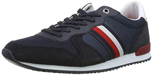 Tommy Hilfiger Herren Iconic Material Mix Runner Sneaker, Blau (Desert Sky Dw5), 45 EU