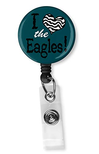 Football Team Inspired Retractable ID Card Badge Holder with Alligator Clip Name Nurse Decorative Badge Reel Clip on Card Holders (I Heart The Eagles)