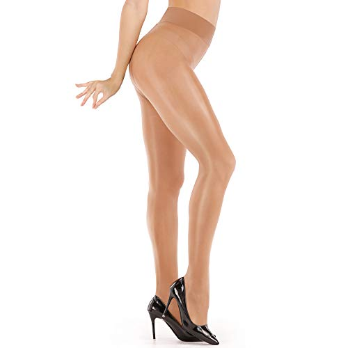 ARRUSA Women's Super Sexy Shiny Sheer Control Top Footed Tights Silk Stockings Ultra Shimmery High Waist Pantyhose (Coffee)