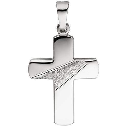 JOBO Damen Anhänger Kreuz 925 Silber gehämmert diamantiert Kreuzanhänger Silberkreuz