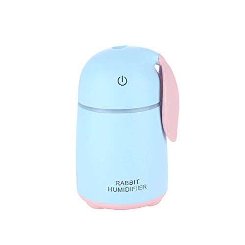 Ningz0l Mini-luchtbevochtiger, USB, 170 ml, draagbare autoverstuiver, schattige huisdier, konijntje, huisje, bureau, aromatherapie, machine, nachtlampje blauw
