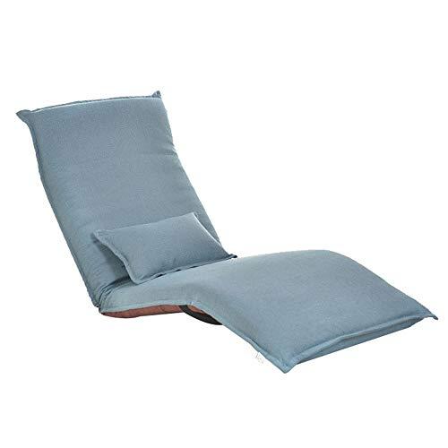 JOMSK Cómodo Acolchado Lazy Sofa Easy Ajustable Floor Chair Respaldo de la Espalda Acolchado Suelos Plegables Asientos (Color : Blue, Size : 179 * 60 * 9cm)