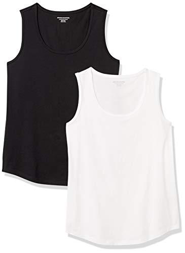 Amazon Essentials débardeurs Classiques 100% Coton sans Manches Chemise, Lot de 2, Noir/Blanc, S