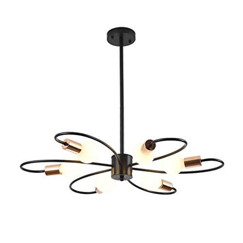 Post-moderne kroonluchter, 6 koppen zwart smeedijzer plafond opknoping lamp met glazen schaduw, keuken eiland eetkamer hanglamp