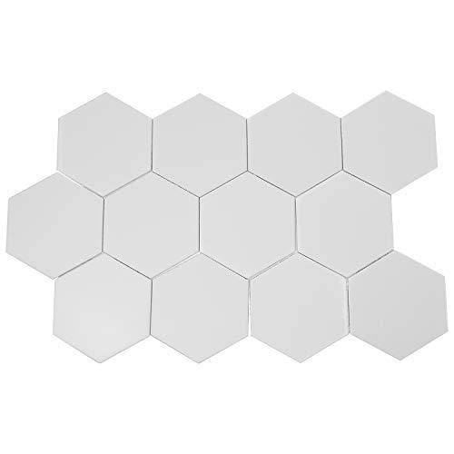 CURTT 12 piezas 3D modernas espejos geométricos hexagonales acrílicos adhesivos decorativos para la decoración del hogar DIY