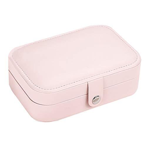 Gmgod Almacenamiento de exhibición de joyas, anillo de pendiente, caja de almacenamiento organizador de franela bandeja de regalo rosa