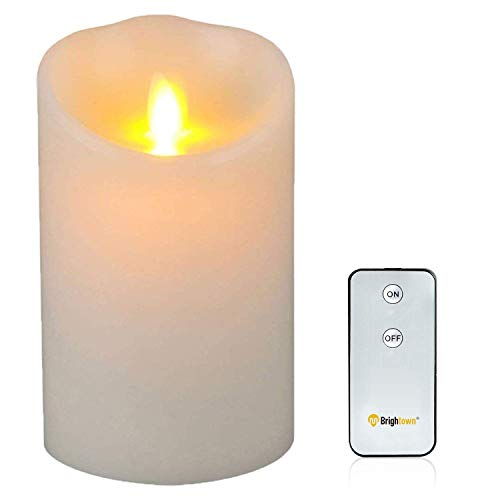 Brightown Flameless Candles, LED Battery Operated Pillar Real Wax Flickering Candle with Remote and Timer for Birthday Party Christmas Decoration (5 inch)