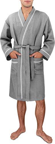 Herren Morgenmantel aus 100% Baumwolle - Waffelbademantel - dünner Kimono für Männer [Gr. S - 4XL} Farbe Grau Größe L