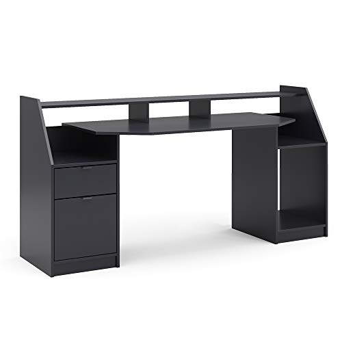 Vicco Computertisch Joel Groß PC-Tisch Gamingtisch Schreibtisch Büromöbel (Schwarz)