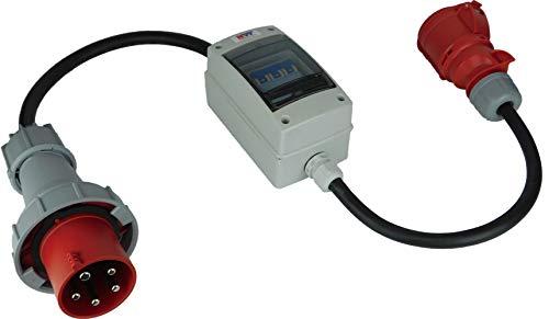 NW Powersolutions NW10066 63A Stecker auf 32A 400V Kupplung Starkstrom IP44/IP67 mit Leitungsschutzschalter 3B32A H07RN-F 5G4/5G6 Adapter