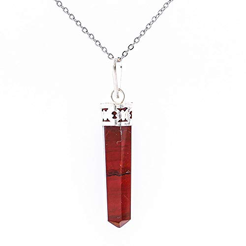 ARITZI - Colgante Delicado de bisutería de Metal con Punta en Piedra Natural - Incluye una Cadena de eslabones de 50 cm en Acero Inoxidable - Jaspe Rojo