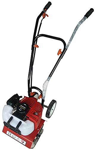Fresadora de gasolina, 52 cc, 2 CV, tracción por rueda, motoazada, motocultor, cultivador, 1,5 kW (rojo)