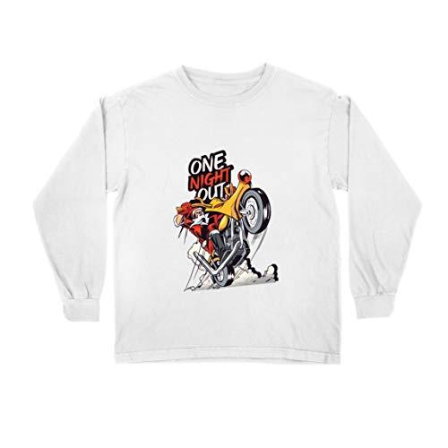 lepni.me Camiseta para Niño/Niña Santa Claus en Moto en Navidad por una Noche de Fiesta (5-6 Years Blanco Multicolor)