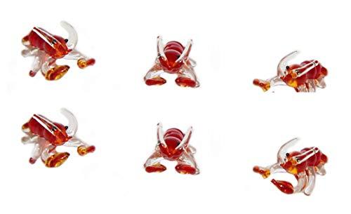 Krebs (Lobster) als Krafttier - 6 Miniatur Glasfiguren - 3 cm - aus Buntem Glas von WWW.Vienna-Fashion.at – Wien Österreich - Krafttier Glastier Glasfigur Setzkasten Deko Vitrine (244)
