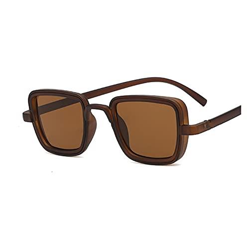 Nuevo Lujo DE Lujo Kabir Singh India Gafas de Sol de la India Hombres Cuadrado Marco de Oro Cool Sunse STUDES DE Marca COMPLETOS Negros para MAJOS UV400 (Lenses Color : Brown Brown)