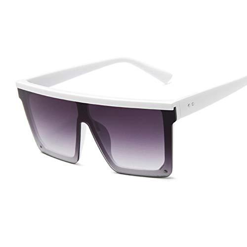 UKKD Gafas De Sol Hombre Mujer Cuadrado Gran Marco Moda Retro Espejo Gafas De Sol Hembra