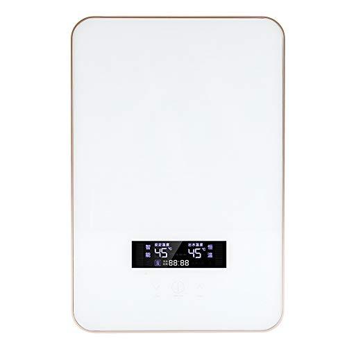 Focket Elektrischer Durchlauferhitzer, 220V 8500W Tankless Touch Button Großes LED-Durchlauferhitzer-Energiespar-Duschsystem mit Brausekopf für das Badezimmer zu Hause(Weiß)