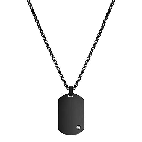 Geoffrey Beene Men's Stainless Steel Engraveable Dog Tag Pendant Necklace with Cubic Zirconia Stone (Black)