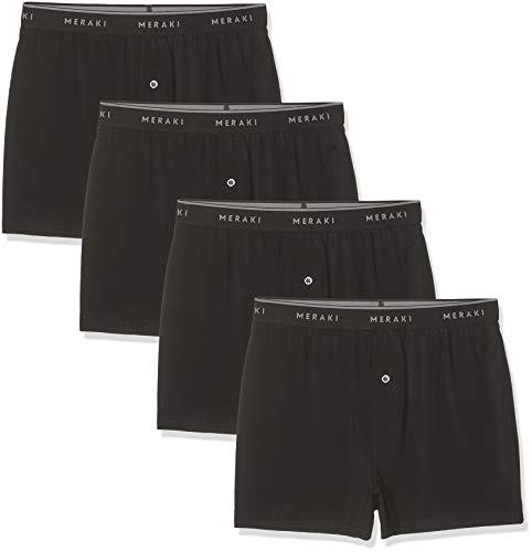 Amazon-Marke: MERAKI Herren Boxershorts aus Jersey mit Hosenschlitz, 4er-Pack, Schwarz (Black), L, Label: L