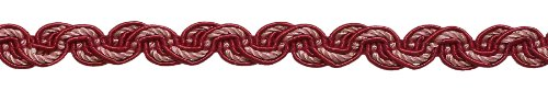 RED, LIGHT ROSE Baroque Collection Gimp Braid 13mm Style# 0050BG Color: ROSE BOUQUET - 7953 (Sold by the Yard - 91cm / 3Ft / 36\