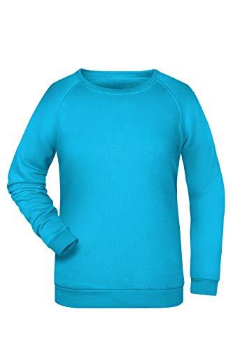 Damen Pullover Sweatshirt Raglan Ärmel Sweater Baumwolle Uni Basic in Turquoise Größe: 3XL