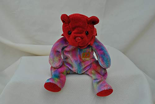 Ty Beanie Baby July Ruby Birthstone Teddy Happy Birthday Bear