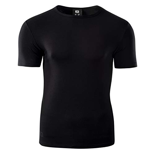 Intelligence Quality Camiseta Funcional de Manga Corta para Hombre, Camiseta Deportiva, Camiseta de compresión, Camiseta para Correr, Milky, M-XXL, Hombre, Camiseta, 72944, Negro, XX-Large