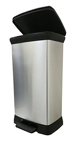CURVER 50 l Metall Effekt Kunststoff Treteimer Touch Deco Abfalleimer Soft Close, Plastik, Silber, 39 x 29 x 72 cm