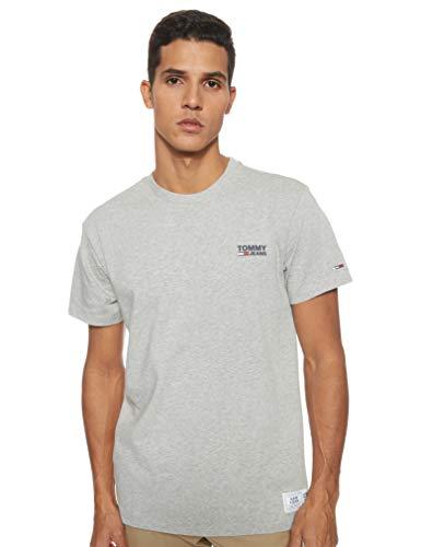 Tommy Jeans Herren TJM Chest Corp Logo Tee Sport T shirt, Grau (LT Grey Htr P01), Medium