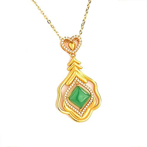 Collar con Colgante De Jade Natural De Hetian, Regalos, Joyería, Amuleto De Calcedonia, Corazón De Plata 925 para Mujer