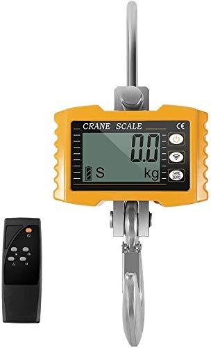 HUKOER 1000kg 2000LBS Báscula con Gancho Resistente Bascula Colgante Portátil Balanza Digital de Grúa con Pantalla LCD para Industria (Yellow)