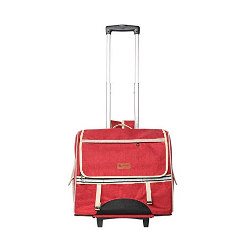 Huisdier tas huisdier trolley tas afneembaar met rolgordijnen handig uit de hond tas kat tas mat 900d stof 17.3x9x17.3 inch (rood)