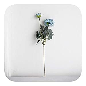 Onln 2 Artificial Flowers Peony Bridal Bouquet Silk Flower Ranunculus Home Decor Fake Leaf Wedding Party Decoration-Blue-