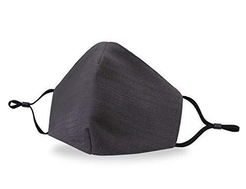 Allsense Unisex Premium Quality Protective Durable Reusable Breathable Comfortable Fashion Face Scarf Mask Covering Cotton Linen Charcoal 1pk