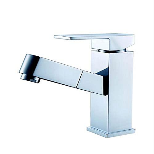 YSKCSRY Grifo para lavabo de baño Grifo extraíble de elevación Recubrimiento de cobre Grifo de lavabo frío y caliente Grifo de baño Grifo de baño Grifo de baño Níquel cepillado Montaje en cubierta Gri