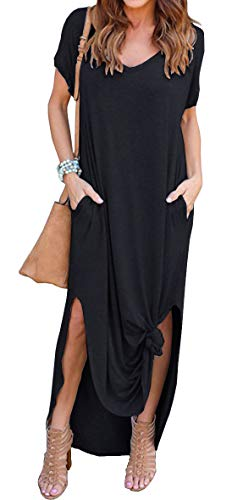 GRECERELLE Women's Casual Loose Pocket Long Dress Short Sleeve Split Maxi Dress Black M