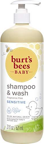 Burt's Bees Baby Sensitive Shampoo and Wash, Fragrance Free, Tear Free, Pediatrician Tested, 98.9% Natural Origin, 21 Fluid Ounces
