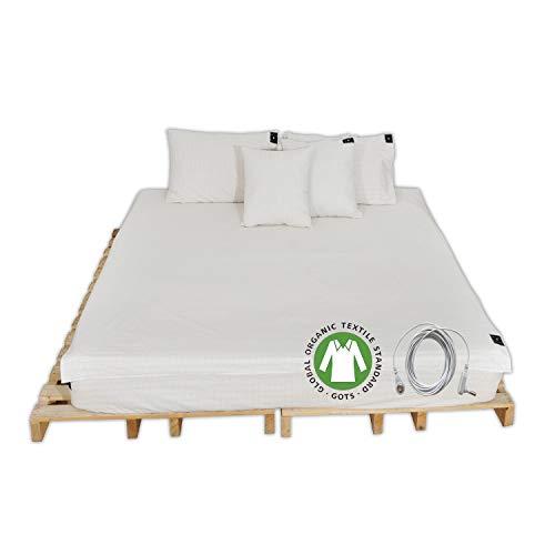 CONDUCTIVE Brand Earthing Erdungs-Bettlaken mit Erdungsverbindungsschnur (190,5 x 137,2 cm, Silberfaser mit Bio-Baumwolle) für Wellnessvorteile, Schlaf, EMF-Schutz