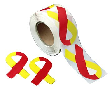 Fundraising For A Cause | Large Red & Yellow Awareness Ribbon Stickers - Bulk Red & Yellow Ribbon Stickers for Diseases, Hepatitis C, HIV/HCV Co-Infection Awareness (1 Roll - 250 Stickers)