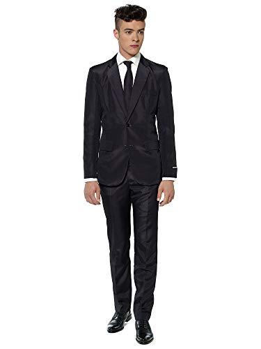 Suitmeister Anzüge für Herren - Mit Jackett, Hose und Krawatte mit Festlichen Print Solid Black - L