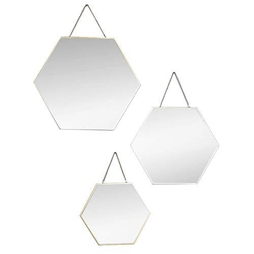 HOGAR Y MAS Espejo de Pared Geométrico, Juego de 3 Espejos Hexagonales Dorados, Decoración Moderna/Original, 3 Tamaños Diferentes.