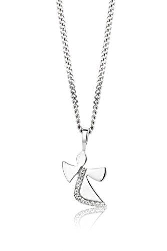 Miore Kette Damen Halskette mit Anhängr Engel aus 925 Sterling Silber mit Rundschliff Zirkonia Steinen, Halsschmuck 45 cm lang