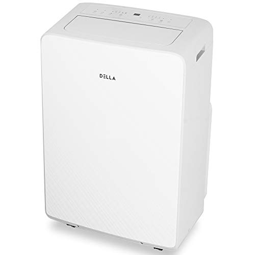 DELLA 14000 BTU Portable Air Conditioner Cool Fan 111 Pint Per 24Hr Dehumidifier for Rooms Up To 700 Sq. Ft. Self Evaporation LCD Remote Control Window Kit Wheels
