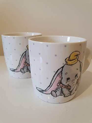 Disney Dumbo-Tassen aus weißem Porzellan, 2 Stück