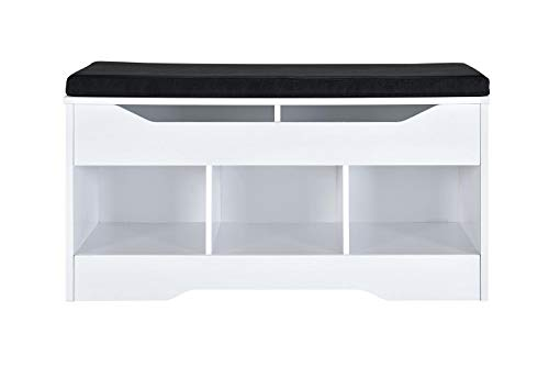 AmazonBasics Classic Shoe Bench with Lift-Top Compartment and 3 Storage Cubbies - White Oak