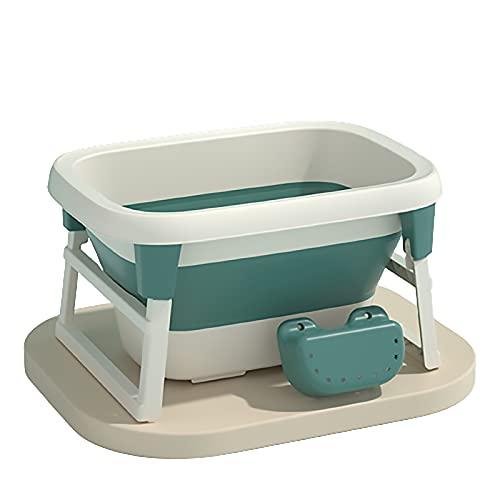 Bañera Plegable para Bebés, Soporte Universal para Bañera Antideslizante para Bebés Recién Nacidos Bañera De Ducha Plegable para Niños De 0 A 15 Años,Verde