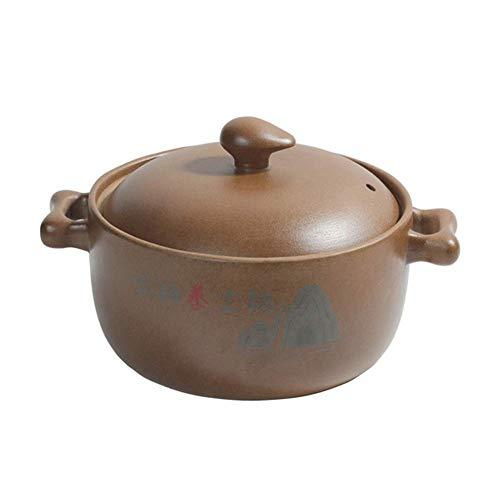 LIUSHI Runder unglasierter Keramikauflauf mit Deckel, handgemachter Tontopf Tontopf Zwiebelsuppentopf Slow Cooker Gelb Slow Cooker 3.8Quart
