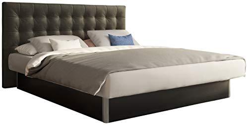 SuMa - Wasserbetten 180x210 dual freistehend m. Sockel schwarz und Kopfteil Nuevo, Farbe Carbon 180x210 cm