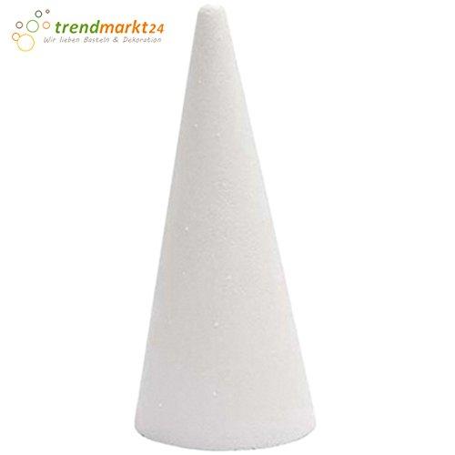 trendmarkt24 Styroporkegel ca. 40 cm hoch | 1 Stück Durchmesser unten: ca. Ø 18 cm groß Ideal als Dekoration zum Basteln | Dekorieren | Gestalten | Filzen | Malen 183218